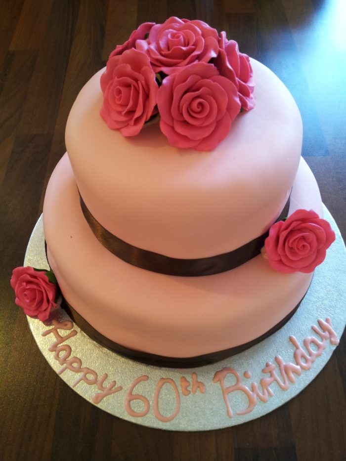 Two-tier Birthday Cake with Gum Paste Roses