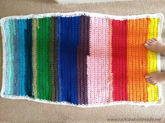 Rainbow Crochet Rug Lookatwhatimade Crochet Rainbow Rag Rug