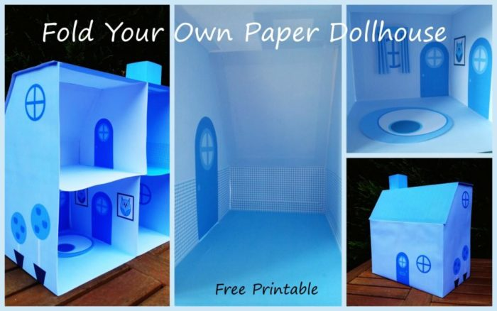 Blue Paper Dollhouse free printable Blue Paper Dollhouse
