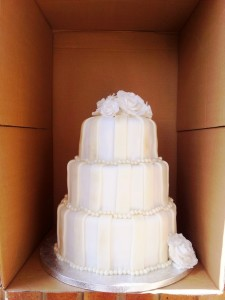 3-tier Ivory Striped Wedding Cake