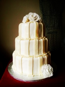 3-Tier Ivory Striped Wedding Cake Recipe