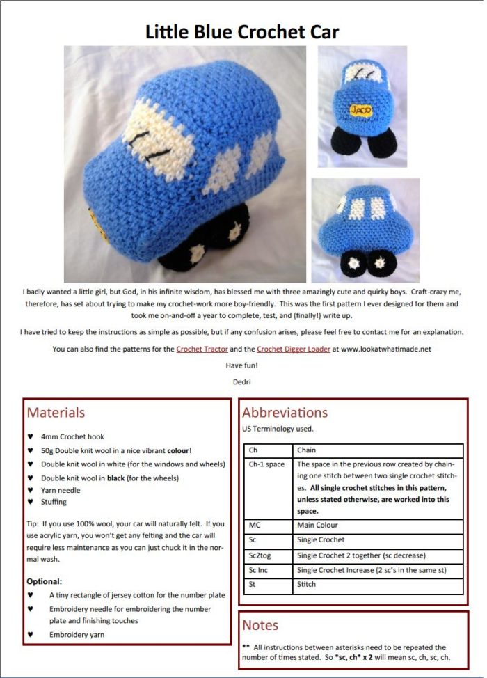 Little Blue Car Crochet Pattern FREE Little Blue Car Crochet Pattern