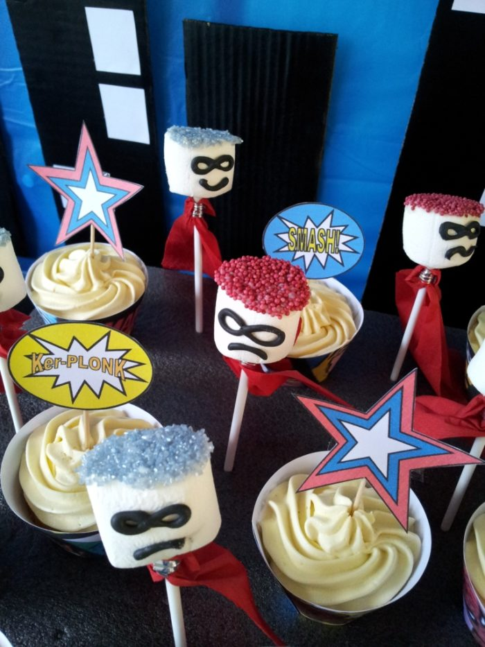 Marshmallow Superheroes 61 DIY Superhero Pop Art Party:  Fun and Frugal Ideas