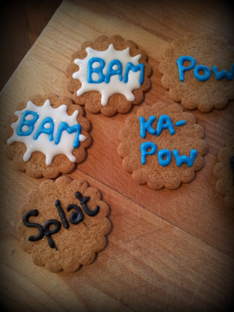 Superhero Pop Art Biscuits 2 768x1024 DIY Superhero Pop Art Party:  Fun and Frugal Ideas