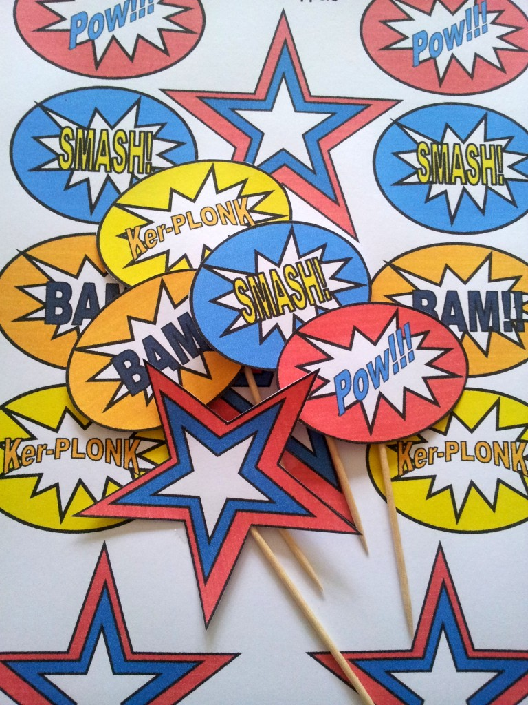 Superhero Pop Art Cupcake Toppers 2 768x1024 DIY Superhero Pop Art Party:  Fun and Frugal Ideas