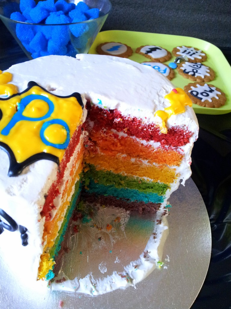 Superhero Pop Art Rainbow Cake 768x1024 DIY Superhero Pop Art Party:  Fun and Frugal Ideas