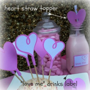 """Love me"" Drink Labels and Heart Straw Toppers"