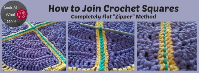 Crochet Stitches To Join Squares : How to Join Crochet Squares - Completely Flat Zipper Method - Loo...