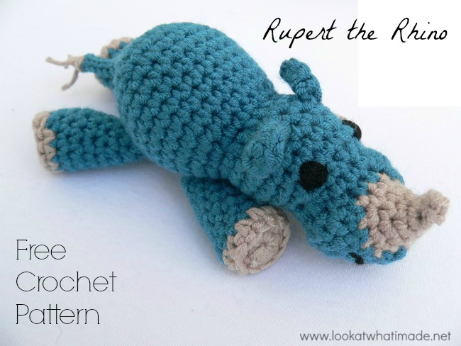 Lookatwhatimade Rupert Rhino Pattern Little Zoo:  Rupert the Crochet Rhinoceros