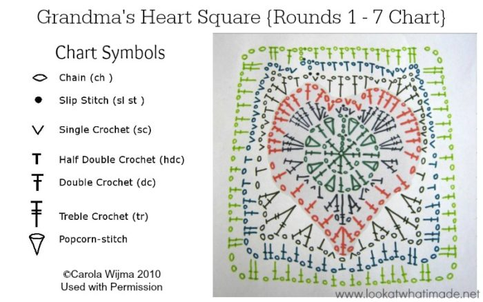 Block 24 Grandmas Heart Square Full Tutorial And Chart Look