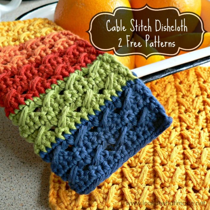 Cable Stitch Dishcloth { 2 Free Patterns} ⋆ Look At What I Made