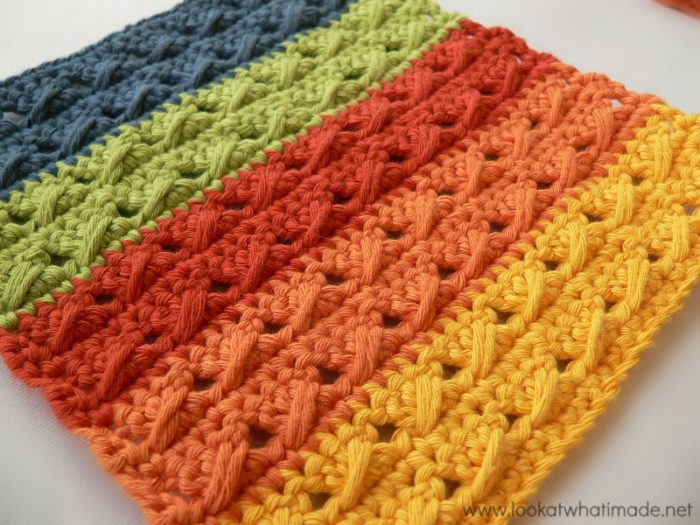 Crochet Cable Stitch : Crochet Cable Stitch Dishcloths