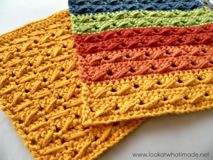 Crochet Stitches Dishcloths : Cable Stitch Dishcloth { 2 Free Patterns} - Look At What I Made
