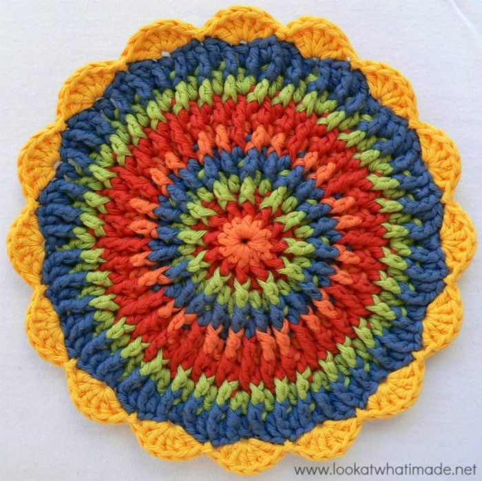 Crochet Potholders : This Frenzied Crochet Potholder could also be used as a trivet. The ...