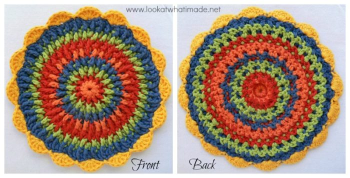 Front post frenzy crochet potholder look at what i made round crochet potholder trivet mandala dt1010fo