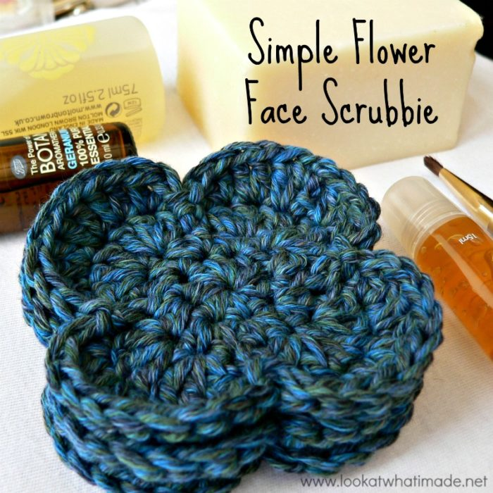 Simple Flower Crochet Face Scrubbie ⋆ Look At What I Made