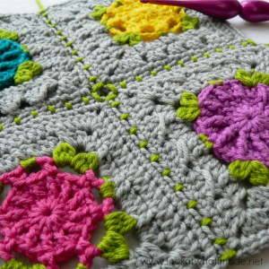 Joining Crochet Squares Part 2:  (Sc, ch 1, skip 1) Join