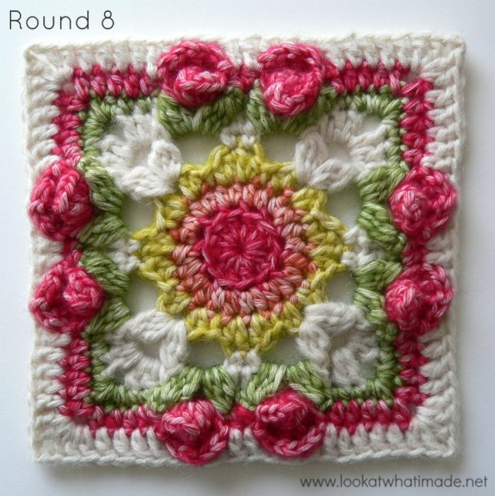 Free Crochet Rose Square Pattern : Dedris Rose Garden Square - by Penny Davis ? Look At What ...