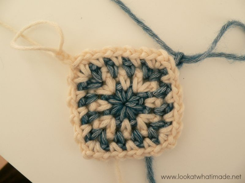 Two-colour Linen Stitch Crochet Square