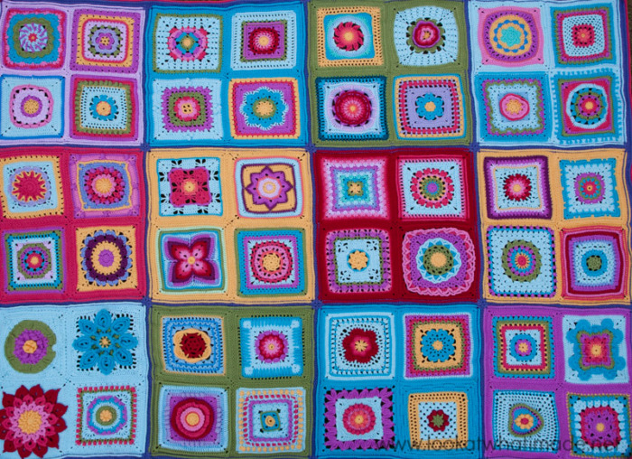 Colorful Crochet Afghan Squares
