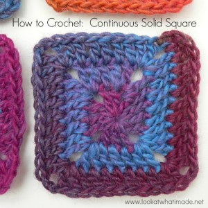 How to Crochet:  Continuous Solid Square