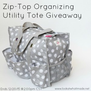Giveaway:  Zip-Top Organizing Utility Tote (Ends 12/20/15)