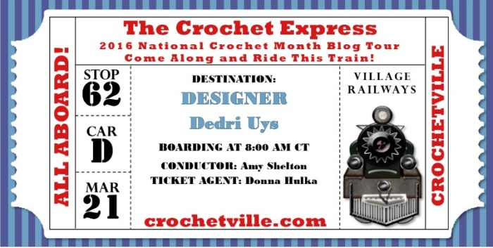 Dedri Uys Crochet Express Ticket Crochetville Blog Tour 2016