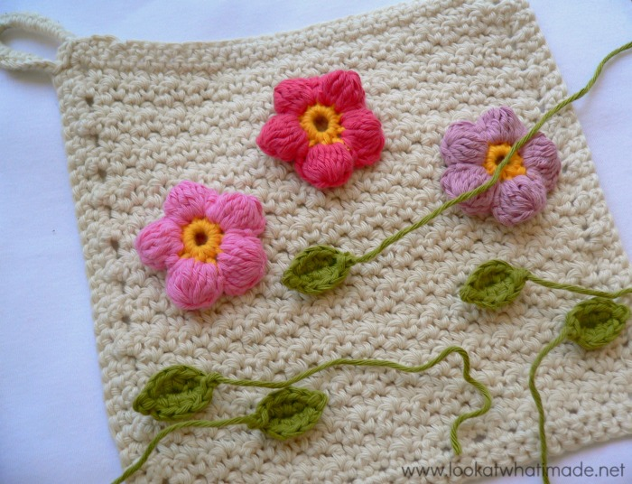 Flower Garden Dishcloth Applique Flowers Crochet
