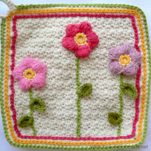 Little Flower Garden Dishcloth {Crochet Pattern}